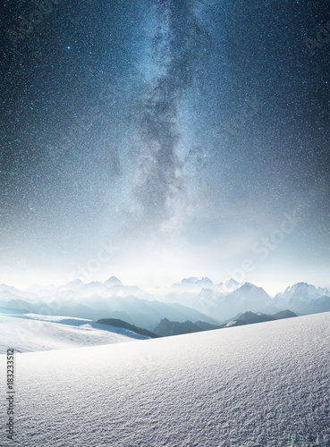 Fotobehang Wit Mountain in the winter at the night time. Natural landscape in the winter time