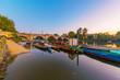 Boats and richmond bridge at dusk - 183236118