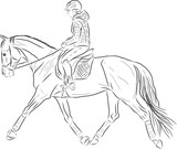 Sketch of a woman riding on a horse. - 183237123