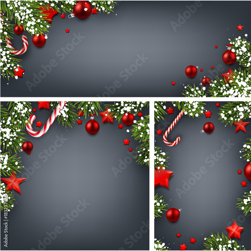 Foto op Canvas Wanddecoratie met eigen foto Backgrounds with fir branches and Christmas balls.