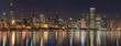 Chicago Christmas Skyline Lights Panorama