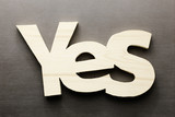 Wood word yes on a grey background - 183238168
