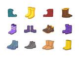 Boots icon set, cartoon style - 183245528