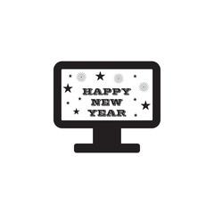 New Year's TV congratulation icon
