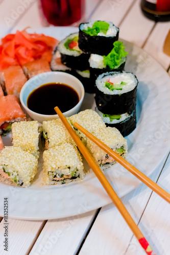 Tuinposter Sushi bar sushi japanese food