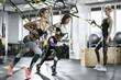 Athletic girls training in gym