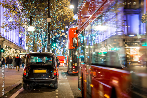 Oxford street in Christmas time, London Poster