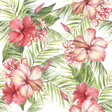Tropical seamless pattern. Palm leaves and hibiscus.Hand draw watercolor illustration. - 183260308