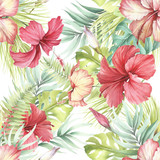 Tropical seamless pattern. Palm leaves and hibiscus.Hand draw watercolor illustration. - 183260312