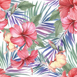 Tropical seamless pattern. Palm leaves and hibiscus.Hand draw watercolor illustration. - 183260333