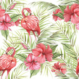 Tropical isolated seamless pattern with flamingo.Hand draw watercolor illustration - 183260353