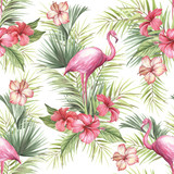 Tropical isolated seamless pattern with flamingo.Hand draw watercolor illustration - 183260375