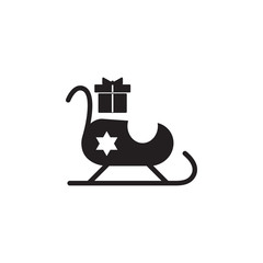 Santa Claus sleigh with gifts icon. Christmas or New Year element. Premium quality graphic design. Signs, outline symbols collection, simple icon for websites, web design, mobile