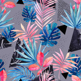 Modern art illustration with tropical leaves, grunge, marbling textures, doodles, geometric, minimal elements. - 183261992