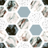 Watercolor hexagon with stripes, water color marble, grained, grunge, paper textures. - 183263902
