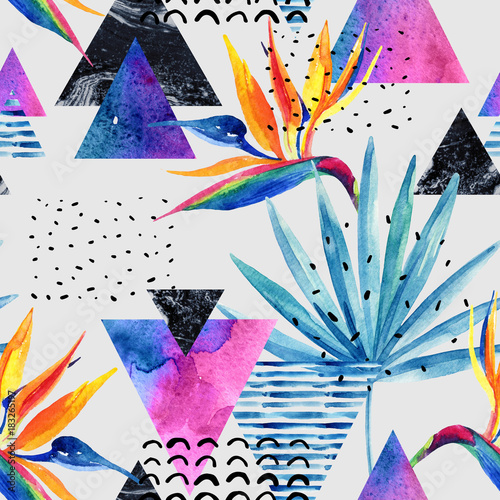 Watercolor exotic flowers, leaves, grunge textures, doodles seamless pattern in rave colors - 183265197