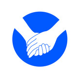 Holding hands on blue circle. icon design in flat style. concept of supporting, vector illustration isolated on white background. - 183265530