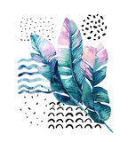 Art illustration with tropical leaves, doodle, grunge textures, geometric shapes in 80s, 90s minimal style. - 183266323