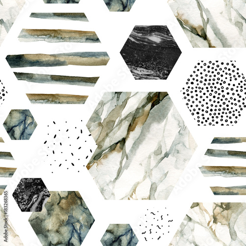 Watercolor hexagon with stripes, water color marble, grained, grunge, paper textures. - 183268365