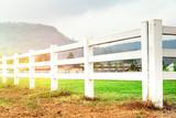White concrete fence in farm field - 183268782