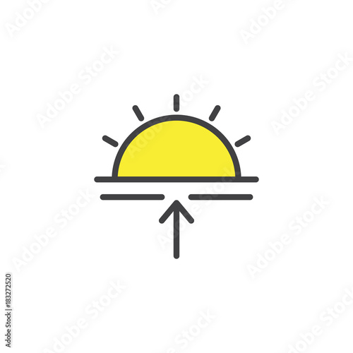 Sunrise filled outline icon, line vector sign, linear colorful pictogram isolated on white. Sun and arrow up symbol, logo illustration. Pixel perfect vector graphics