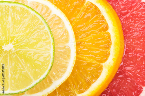 concept of round slices of citrus fruit, bright background