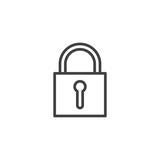 Padlock line icon, outline vector sign, linear style pictogram isolated on white. Lock symbol, logo illustration. Editable stroke - 183276953