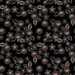 Seamless floral retro pattern black - 183277512