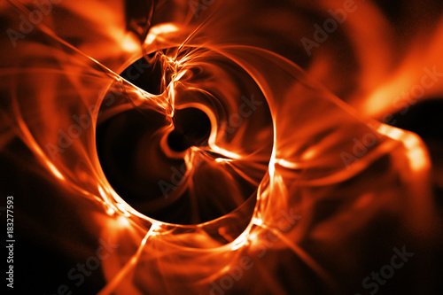Abstract glowing orange shapes on black background. Fantasy fractal texture. 3D rendering.