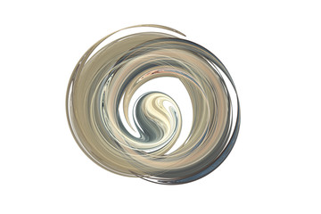 Abstract swirling grey and beige lines on white background. Fantasy fractal design. 3D rendering.