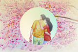 Watercolor painting of love couple on pink beauty flowers.