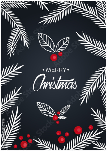 Deurstickers Vlinders in Grunge Merry Christmas decoration text