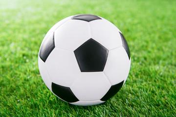 Soccer ball on green turf