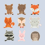 Set of stickers with cute animal.