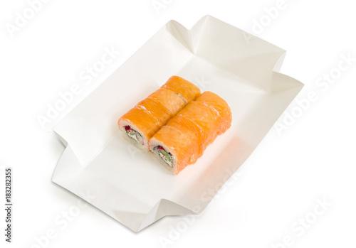 Fotobehang Sushi bar Sushi with salmon in cardboard box for take-out food