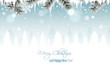 Winter landscape vector banner with branches, icicles, snowfall, snowflakes and snowy forest. Merry Christmas and Happy New Year greeting card.
