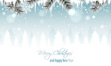 Winter landscape vector banner with branches, icicles, snowfall, snowflakes and snowy forest. Merry Christmas and Happy New Year greeting card. - 183285580