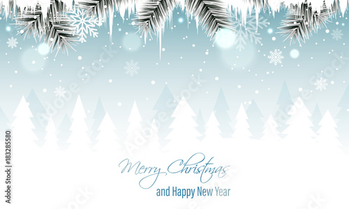 Foto op Plexiglas Wit Winter landscape vector banner with branches, icicles, snowfall, snowflakes and snowy forest. Merry Christmas and Happy New Year greeting card.