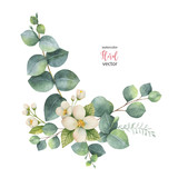 Watercolor vector wreath with green eucalyptus leaves and Jasmine. - 183286571
