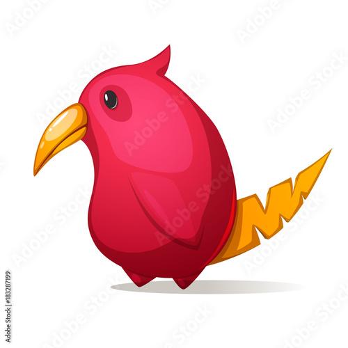 Cartoon funny, cute bird with a large beak.