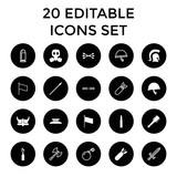 War icons. set of 20 editable filled and outline war icons - 183287357