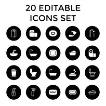 Bath Icons  20 Editable Filled And Outline Bath Icons Sticker