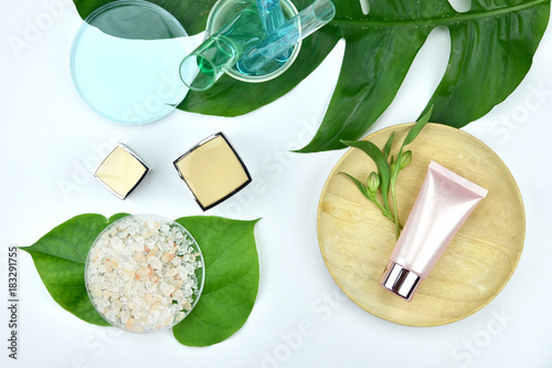 Papiers peints Spa Cosmetic bottle containers with green herbal leaves, Blank label for branding mock-up, Natural beauty product concept.