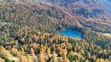 Aerial 4K - Val di Campo - Engadina (CH) - Vista autunnale del Lago Saoseo - 183292742