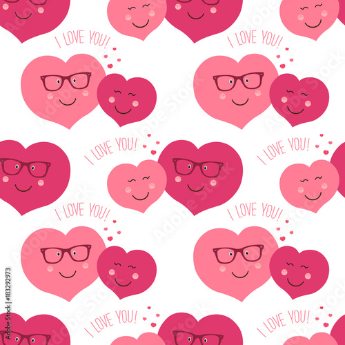 Cute retro seamless pattern with funny hearts characters