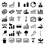 Set of 36 growth filled and outline icons - 183294349