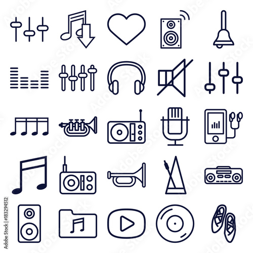 Plexiglas Muziek Set of 25 music outline icons
