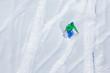 Snowboarder on the way down in winter mountains, Gudauri, Georgia