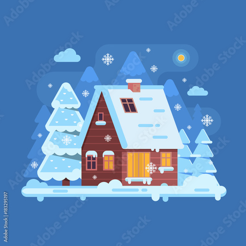 Fotobehang Boerderij Snowy scene with rural winter home with smoking chimney on mountain background. Forest cottage or log cabin on wilderness by wintertime. Cartoon snow capped house landscape banner.