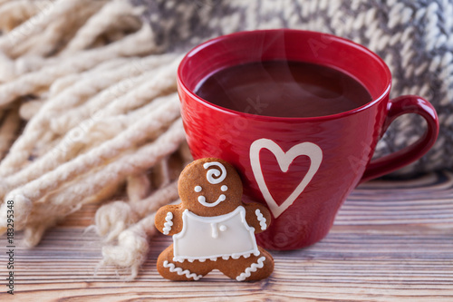 Papiers peints Chocolat hot chocolate with gingerbread man and cozy blanket